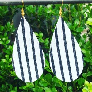 Black and White Striped Leather Teardrops